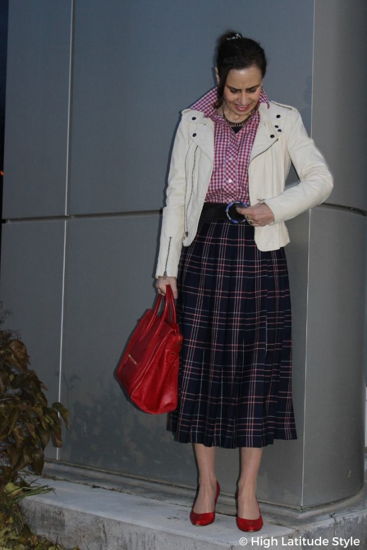 #streetstyle plaid pattern and biker jacket street style