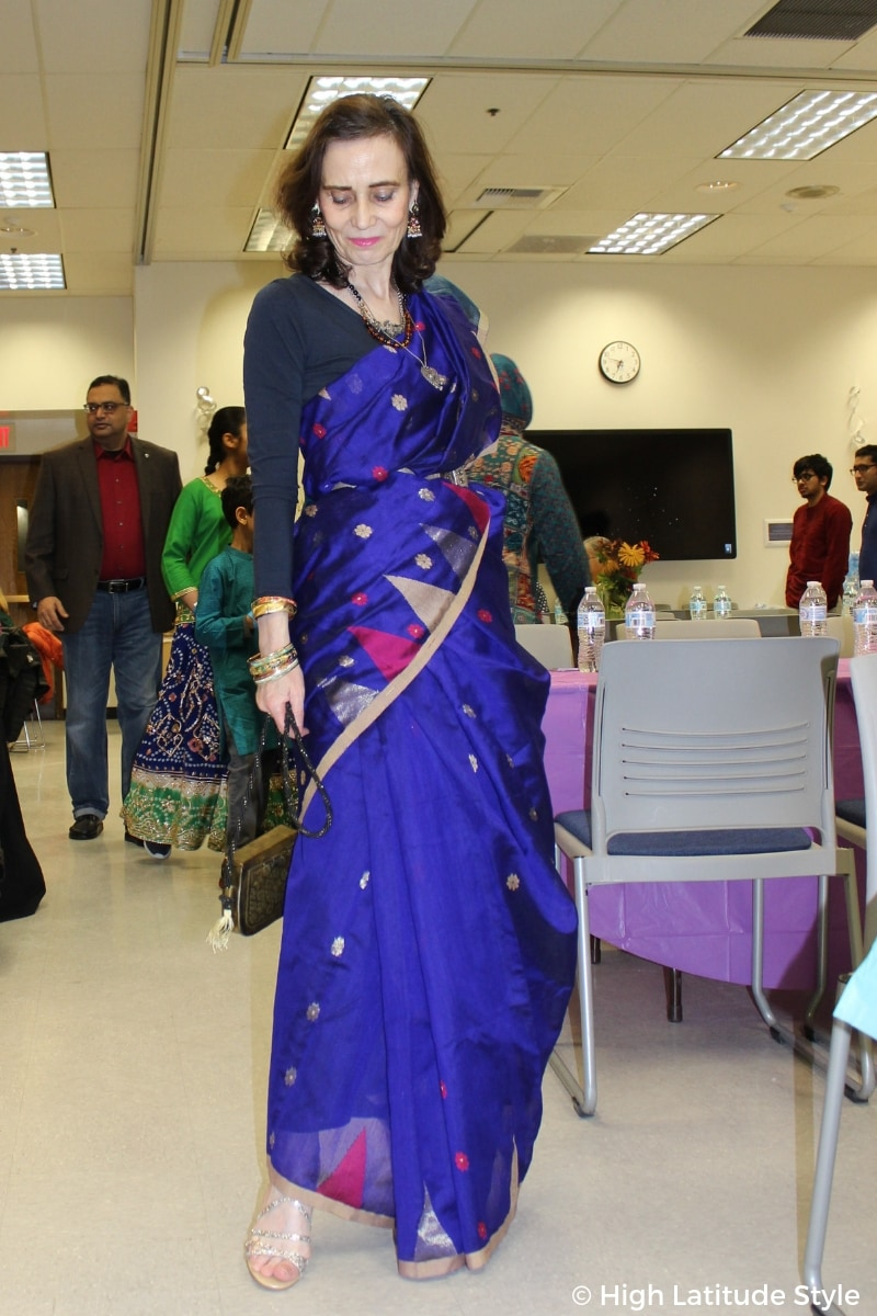Nicole of High Latitude Style donning a royal blue sari at the Fairbanks Diwali party