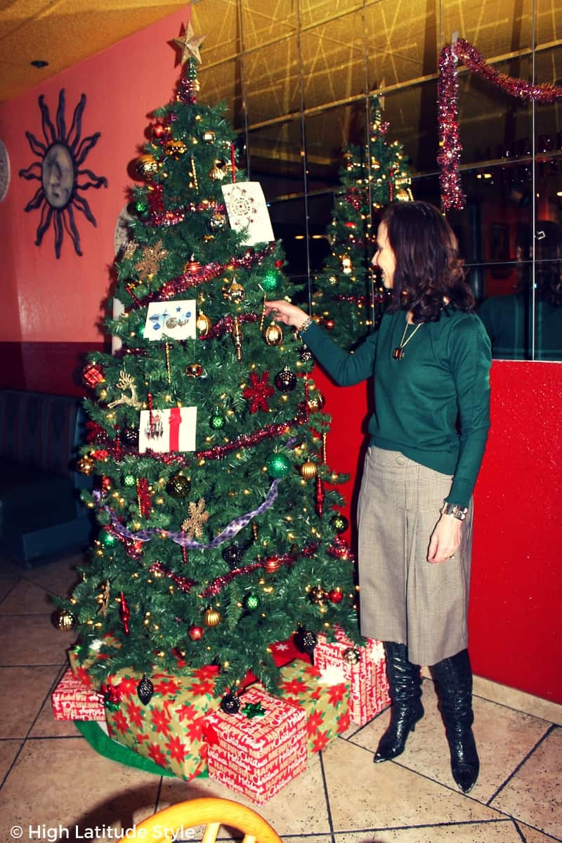 Midlife women in hunter green sweater and footwear with brown midi skirt holiday lotd