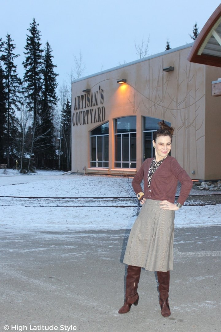 midlife style book author in winter business casual office look with leopard print cardigan, glen check skirt, suede otkb