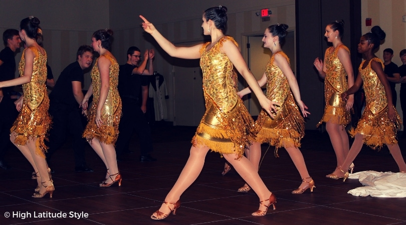 Gorgeous golden glas embellished jive costumes with fringes