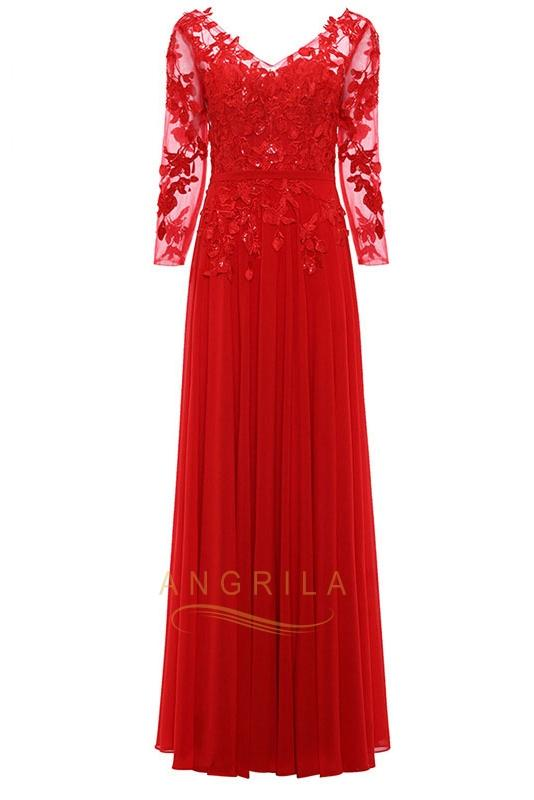 #maturestyle beautiful long sleeves appliques floor-length attire with lace applique perfect for mature women