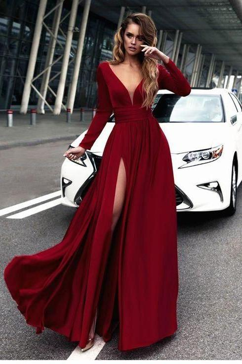 sexy long sleeves high slit evening gown perfect for a formal ball