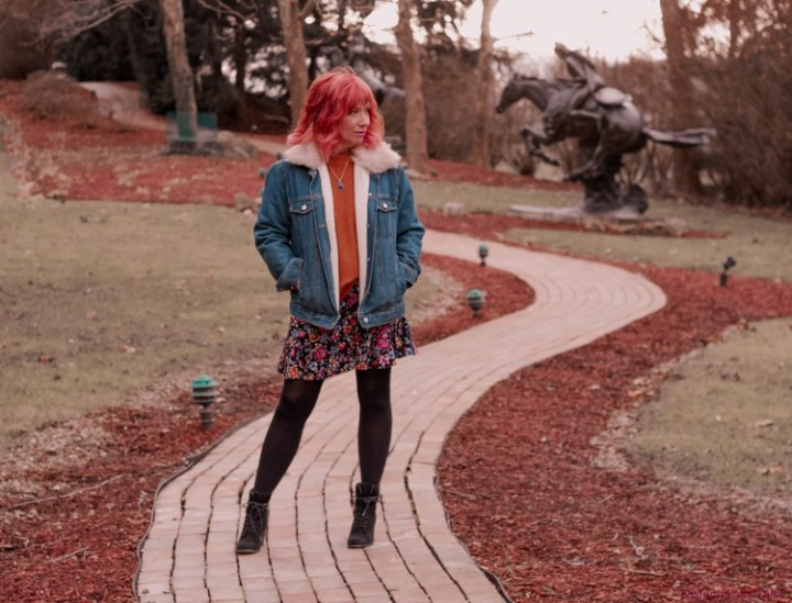 Top of the World OOTD my fav Debbie of Fashion Fairy Dust in trucker jacket and floral skirt