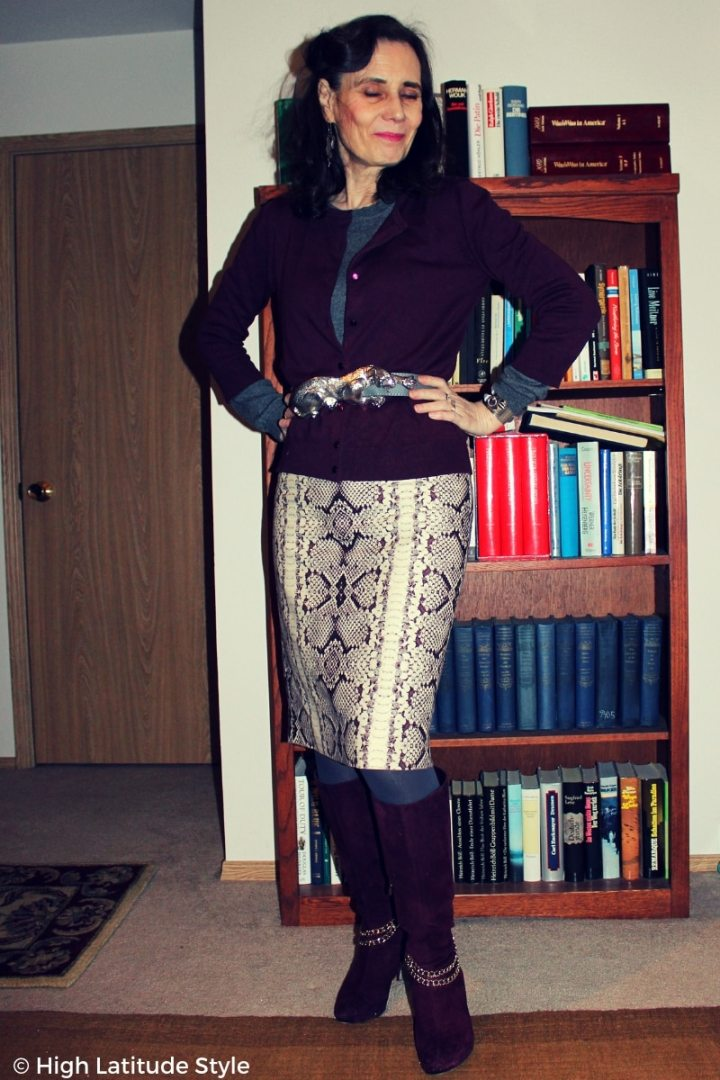 #fashionover50 over 50 years old woman in Casual Friday winter look with panther buckle belt