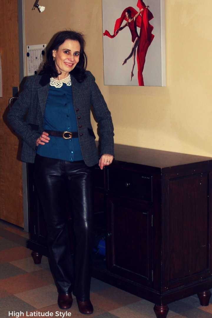 #BritishClassic midlife woman in blazer, cardigan, leather pants, belt, lace collar and Chelseas