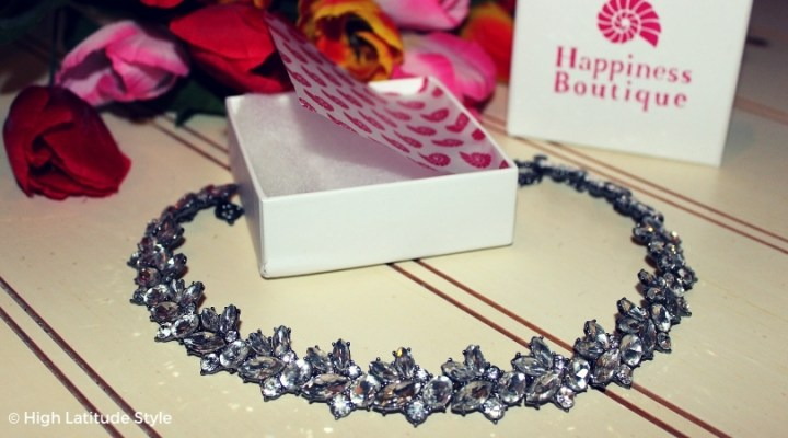 #HappinessBoutique white statement choker showing the sparkling crystals