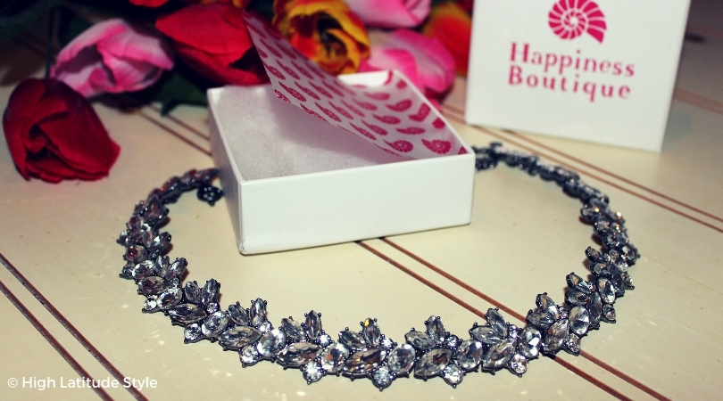 Happiness Boutique white statement choker showing the sparkling crystals