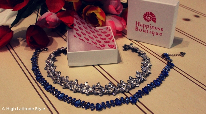 joy statement necklace in serenity blue and dazzling vintage inspired statement necklace both c/o Happiness Boutique