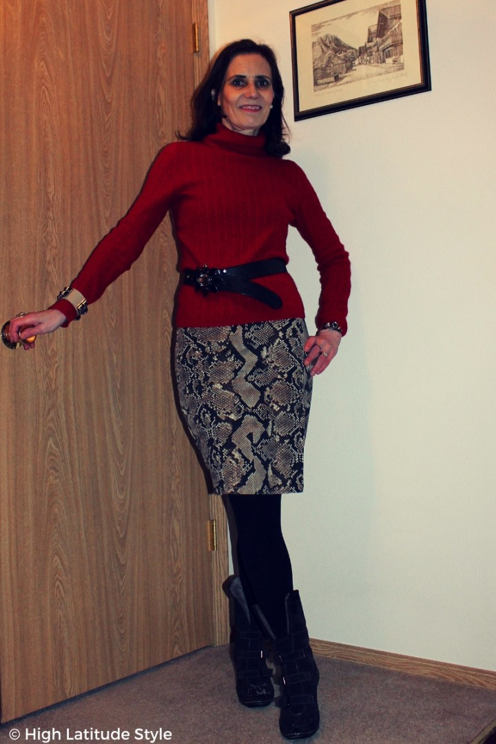 #styleover50 mature woman in business casual office looks with skirt, sweater, tights and boots