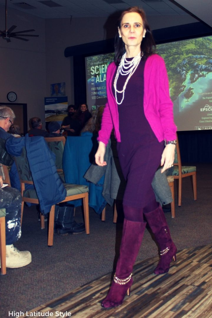 #workstyle fashion blogger in sheath, cardigan, high heel boots, tights and lots of necklaces