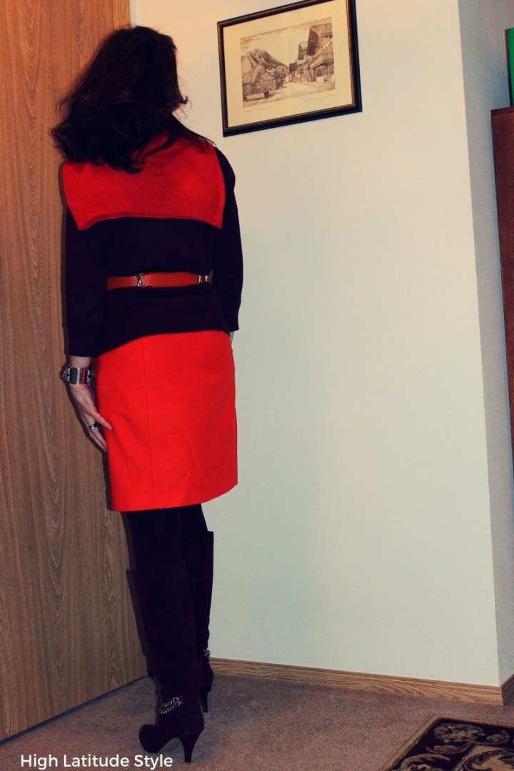 color blocked look with orange skirt with burgundy top