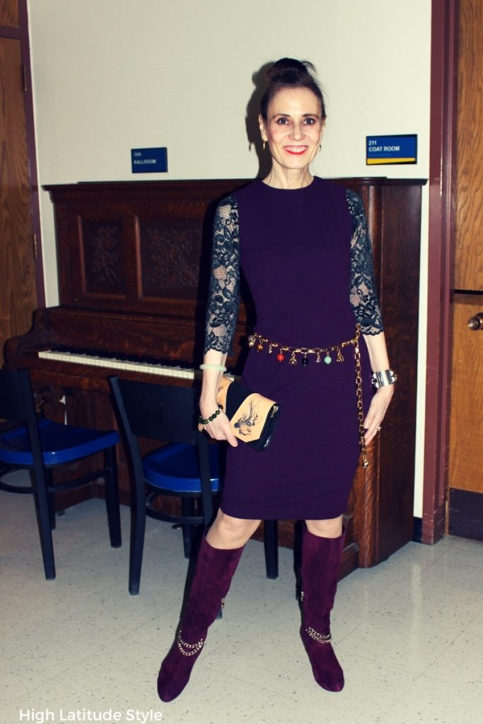 style blogger in a semi-formal outfit with Cami Confidential top styled for a recital visit in winter