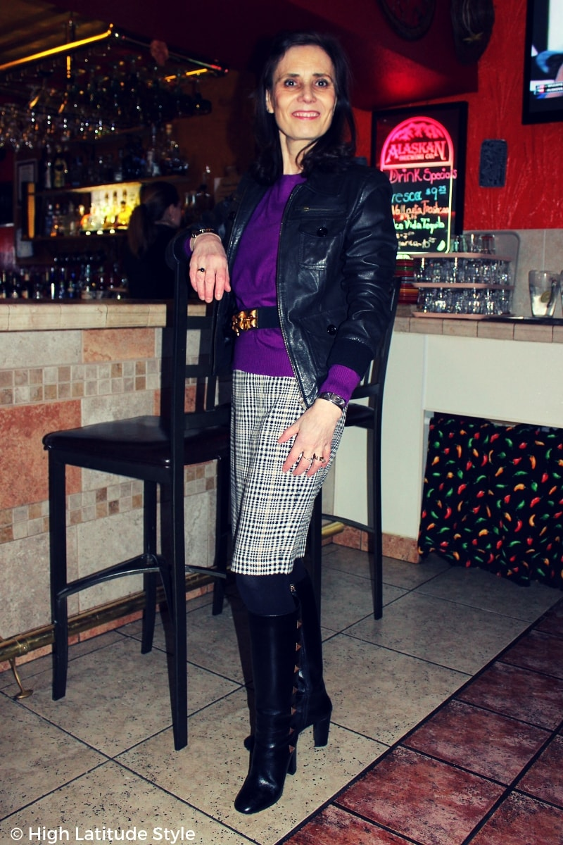 #streetchic over 50 years old in business casual office look with aviator jacket, pruple sweater and knee length skirt