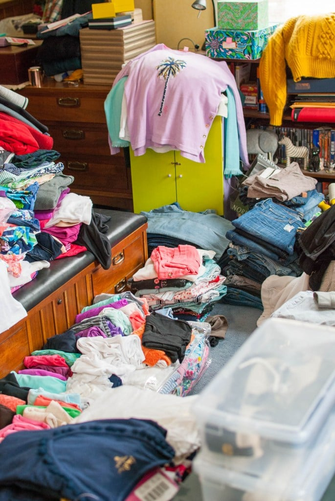 Top of the World OOTD Readers' Fav pile of clothes from an emptied closet