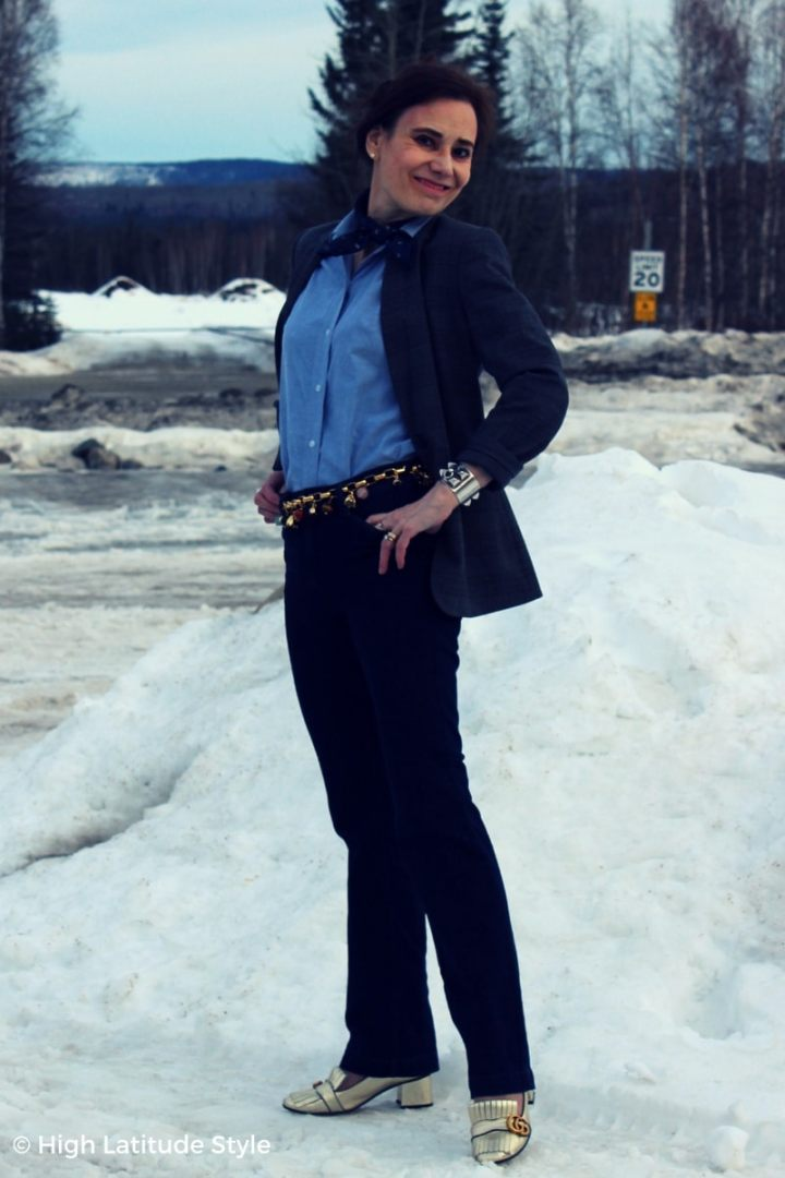 Nicole of High Latitude Style elongating her legs with a high rise jeans