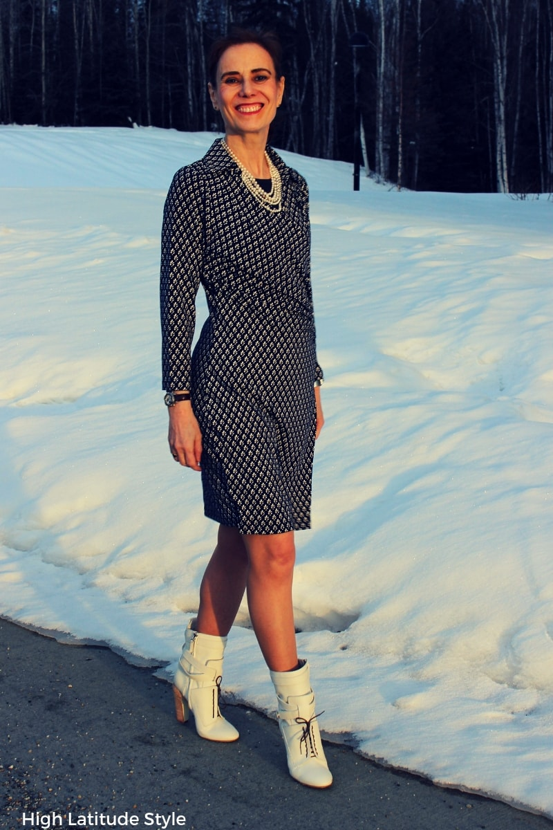 Nicole of High Latitude Style walking in professional blue and white jersey clothing