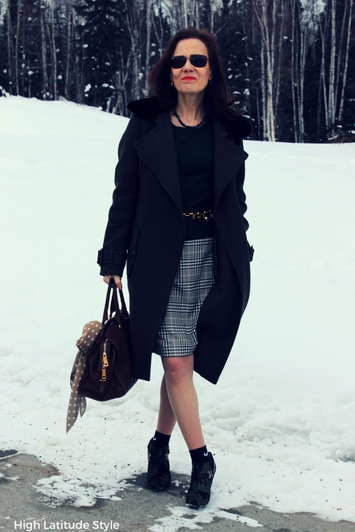 Nicole in loden coat over work outfit
