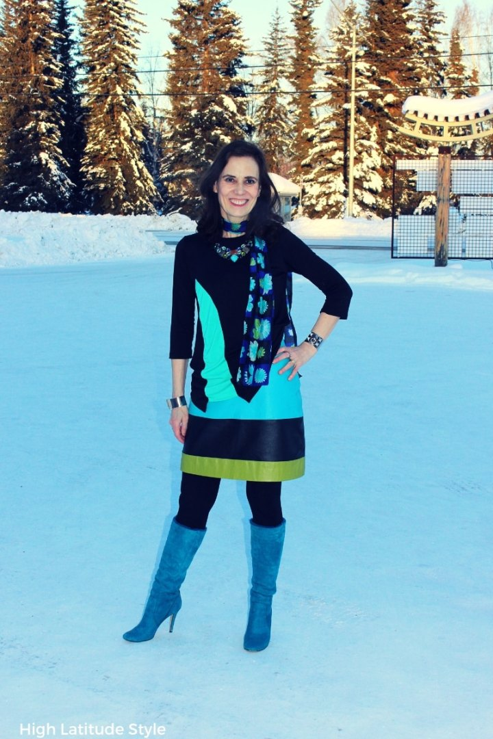 blogger Nicole in modest clothing with abstract flowers scarf and color blocked leather skirt