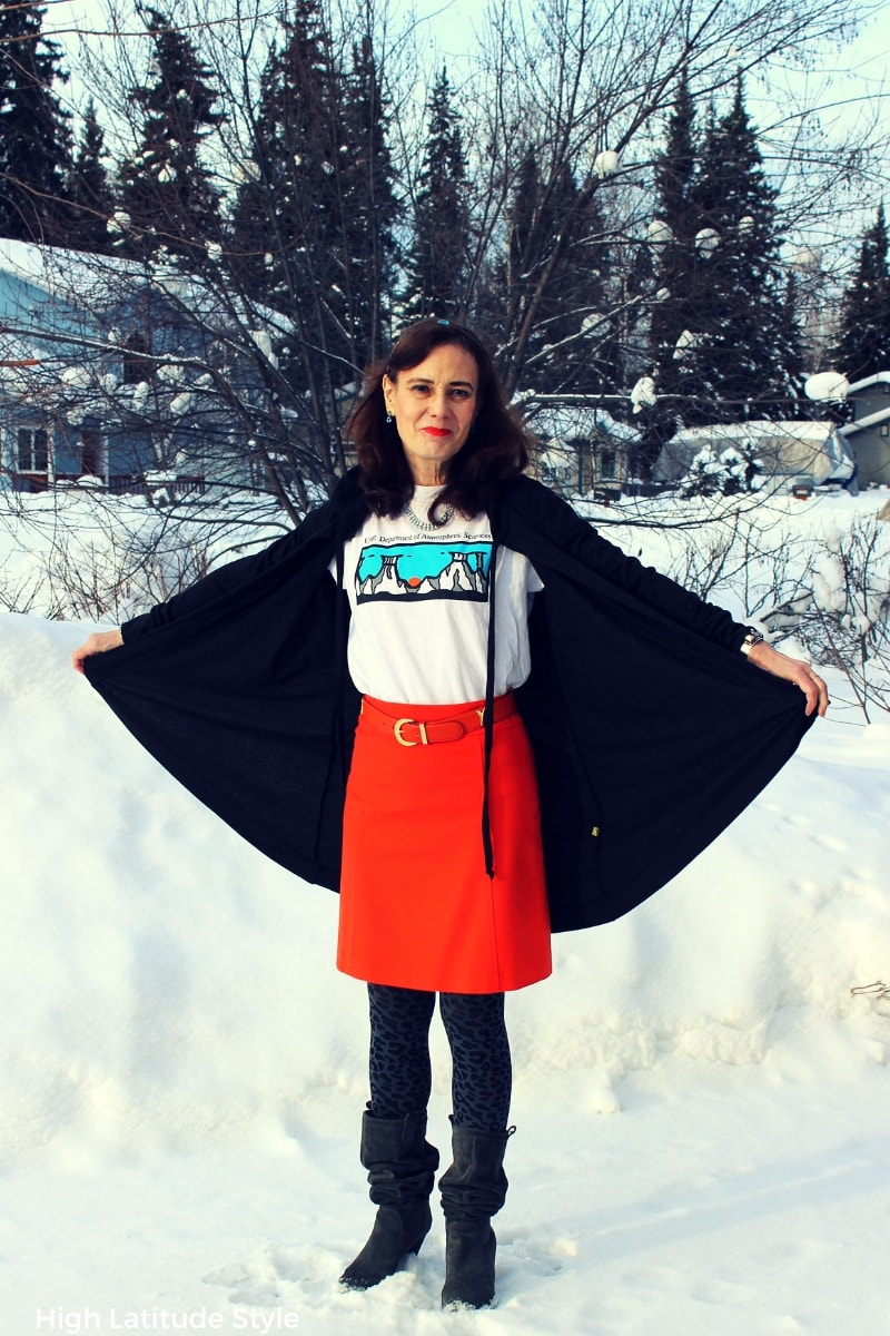 #midlifefashion Nicole in Tricia Tanaka cape cardigan styled with a Tee and skirt for Casual Friday