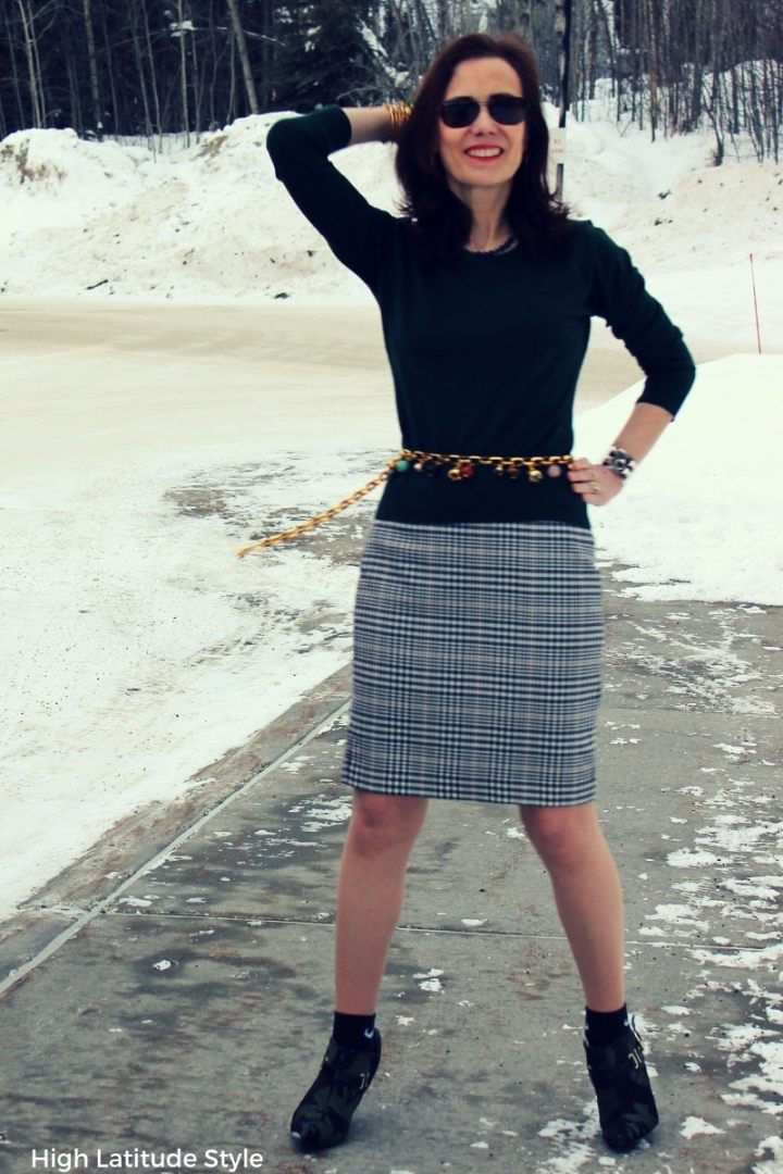 midlife blogger donning the skirt with socks and heels trend