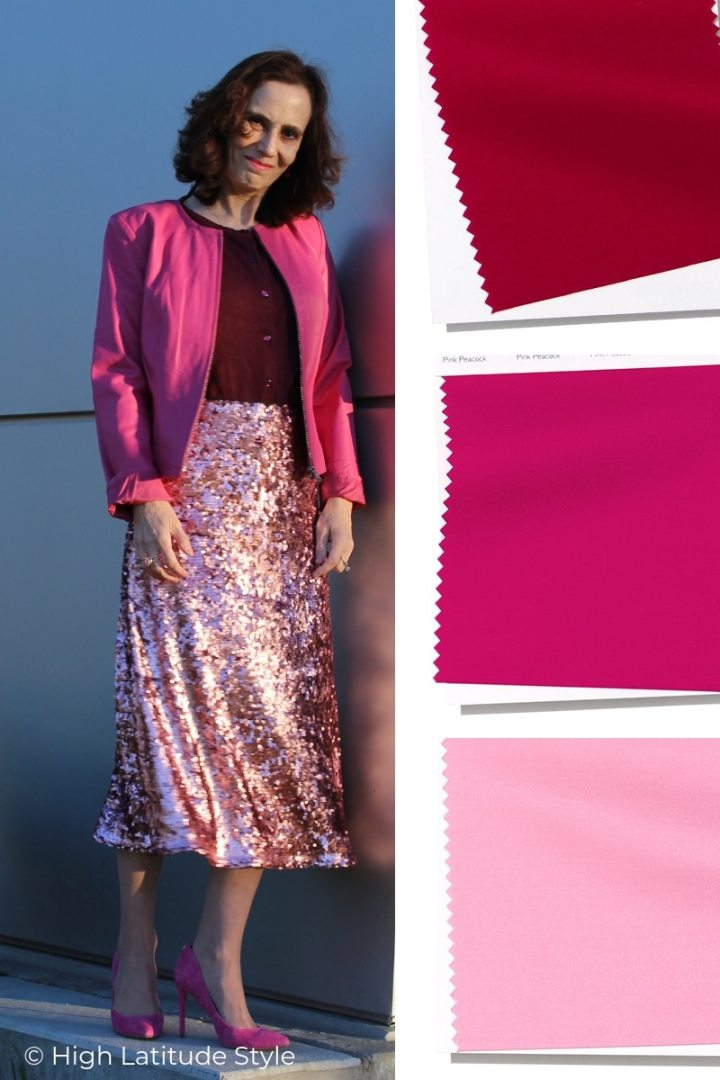 over 50 years old fashion blogger in Peacock pink leather jacket, Jester Red top and sweet pink sequin skirt