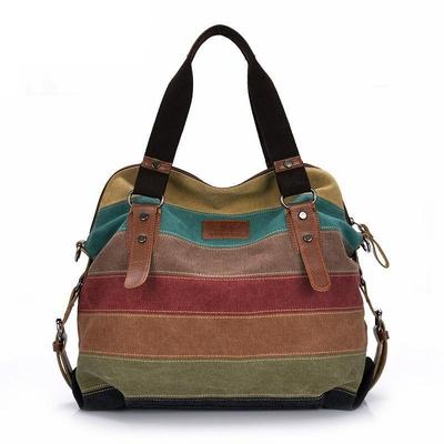 muted colors striped canvas handbag