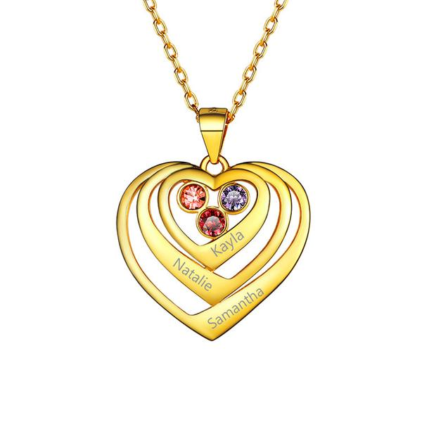 Classic American mom pendant for three names and birthstones