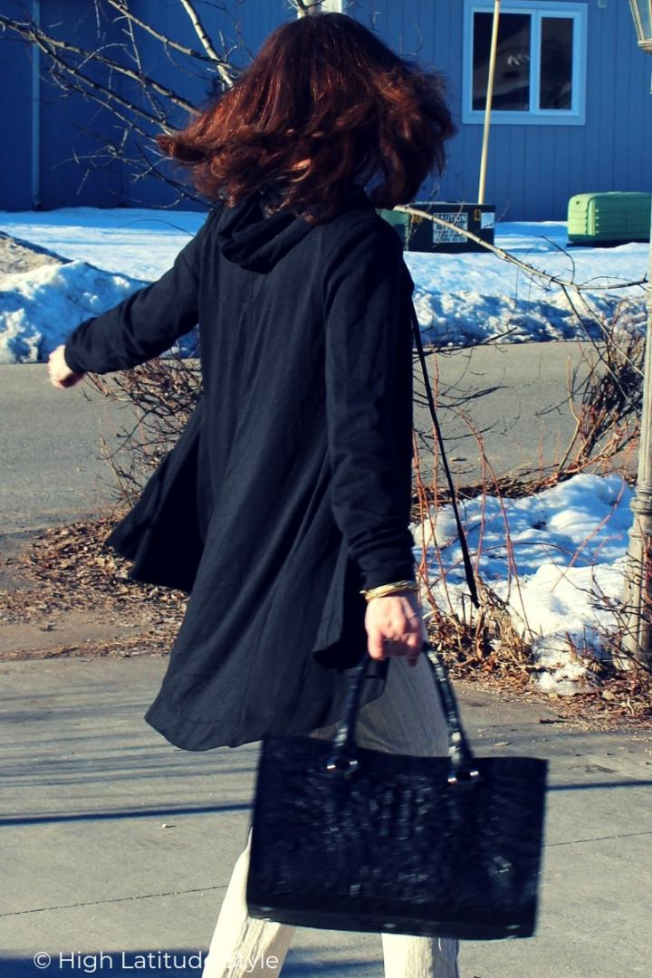 Nicole of High Latitude Style in all neutral Casual Friday outfit