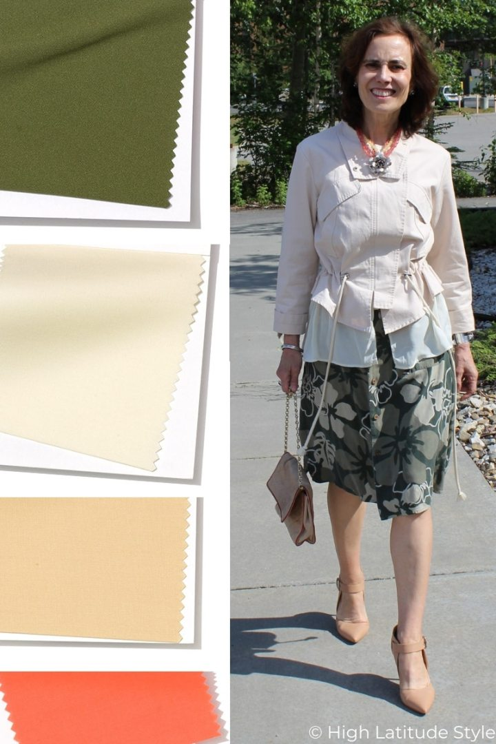 Nicole of High Latitude style donning a summer look in living coral, sweet soy-bean, sweet-corn, Terrarium Moss