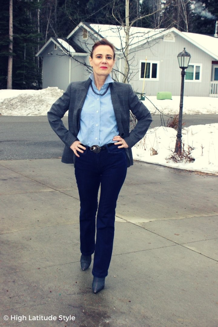 over 50 years old fashion blogger in business casual look with thrifted boots