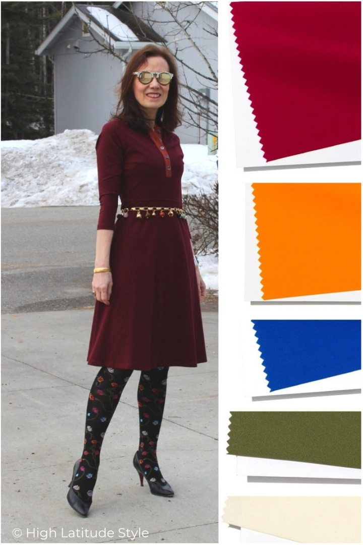 over 50 years old woman in tumeric, Jester red fit and flare knit dress with charm belt and floral tights