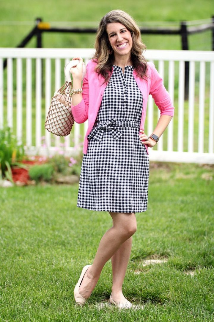 Top of the World OOTD Readers' Fav Carrie of Curly Crafty Mom in pink cardi and black-white gingham dress