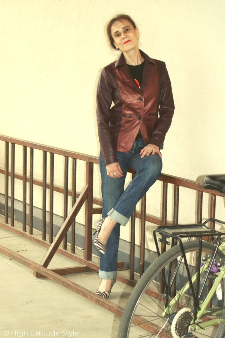 mature blogger in leather business casual look