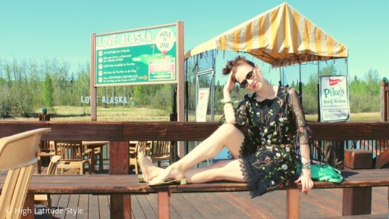 style blogger sun-bathing in a see-thru tunic with lace underskirt and camisole