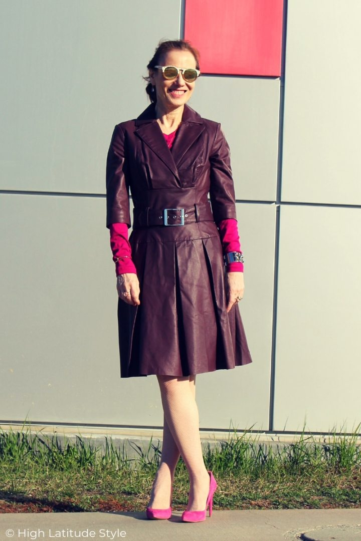 style blogger Nicole in plum leather dress