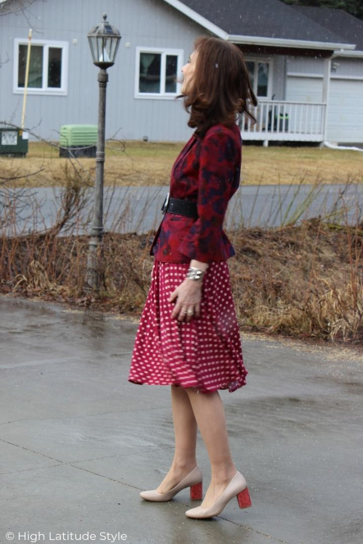 Alaskan woman in business casual spring work look with dress and blazer
