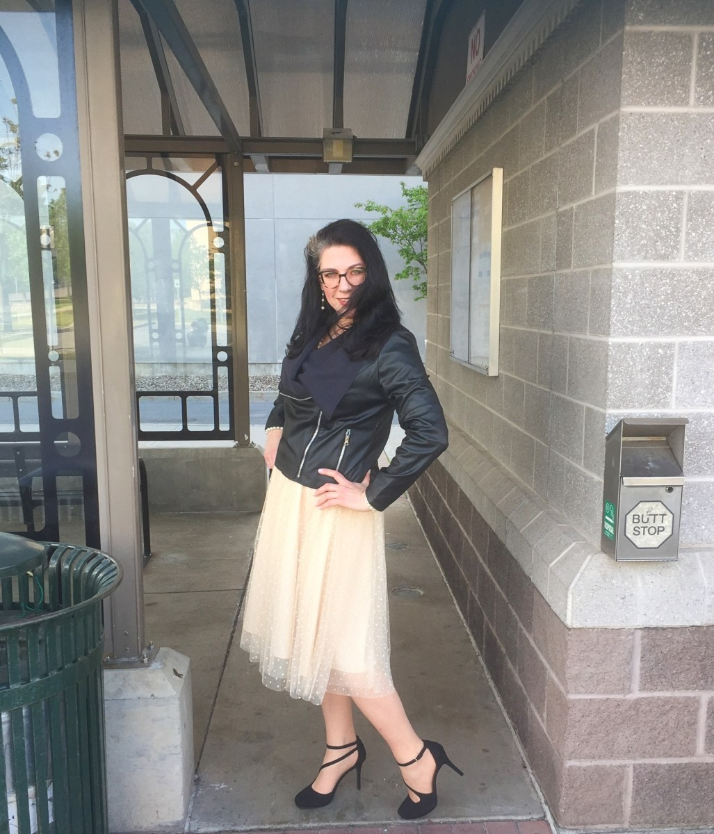Top of the World OOTD My Fav Shelbee in tulle skirt and leather jacket