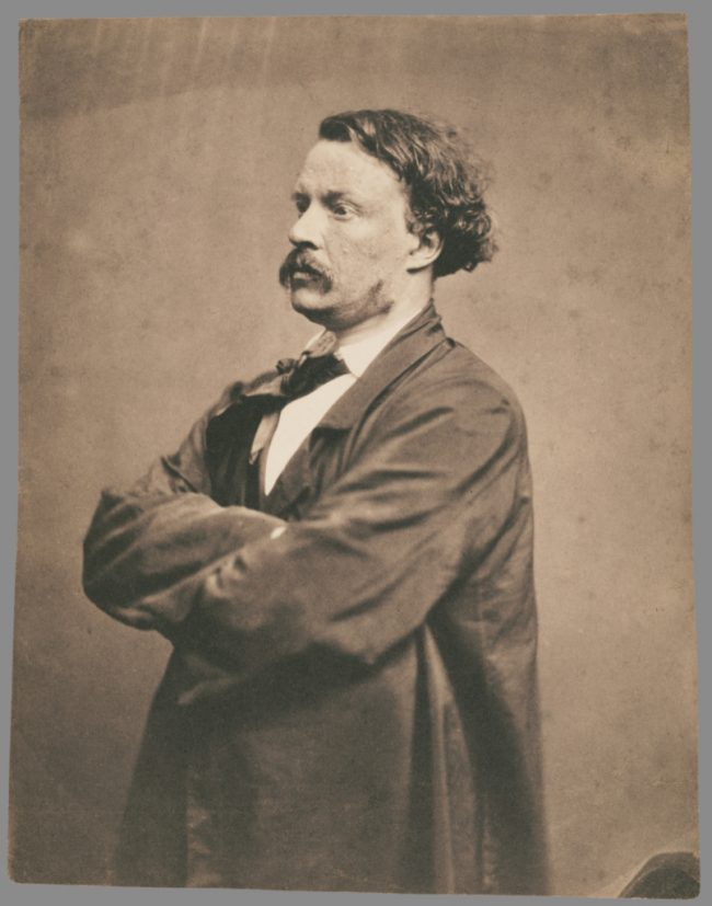 Self portrait of French photographer in Bohemian outfit between 1855 and 1857