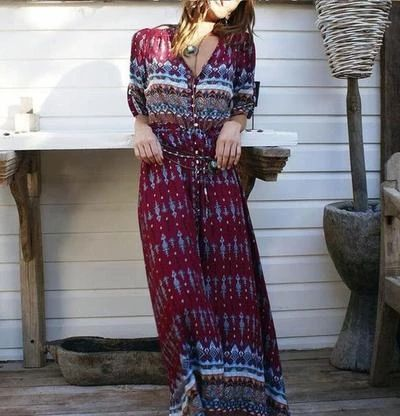 Maxi dress with ethnic print