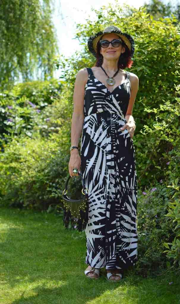Emma of The Style Splash in zebra shoulder strap dress