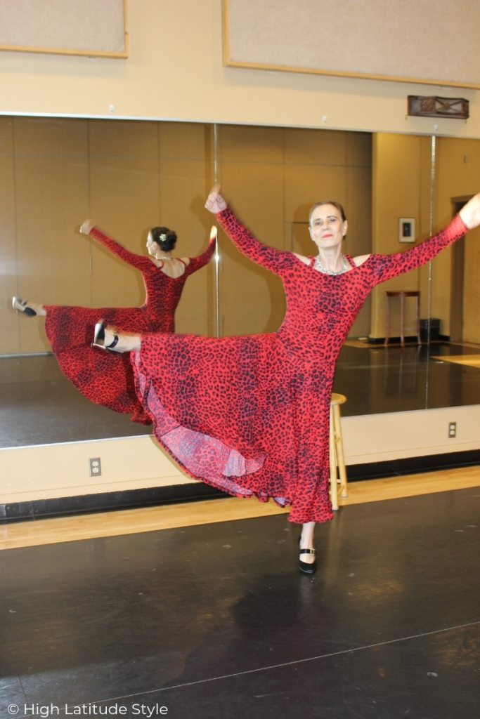 style blogger in dance costume demonstrating the width of the skirt
