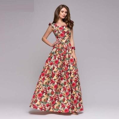 Peony vegan womens sleeveless elegant long dress