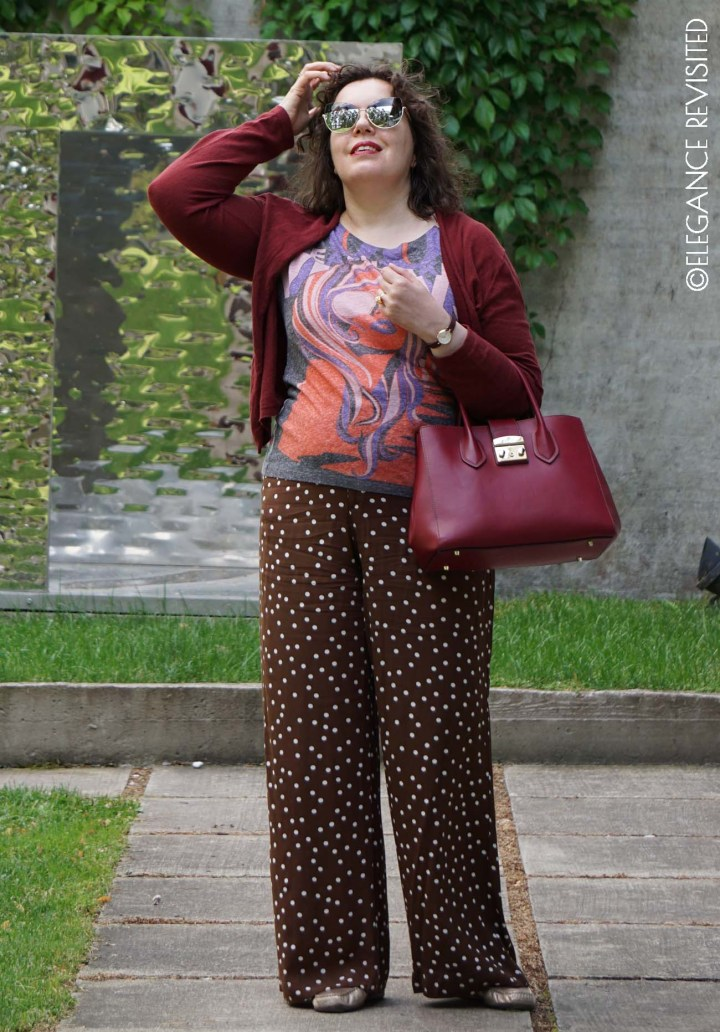 Top of the World OOTD Readers' Fav Tiina in polka dot pants, swirl top, solid cardigan