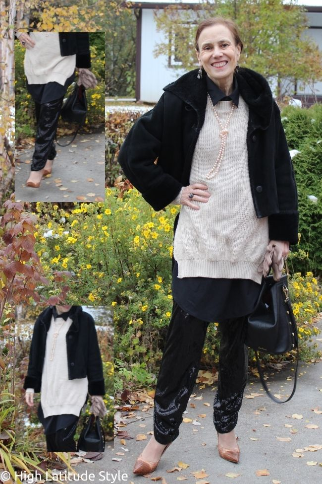 street style dress over sequin trousers with side slits jumper hood jacket