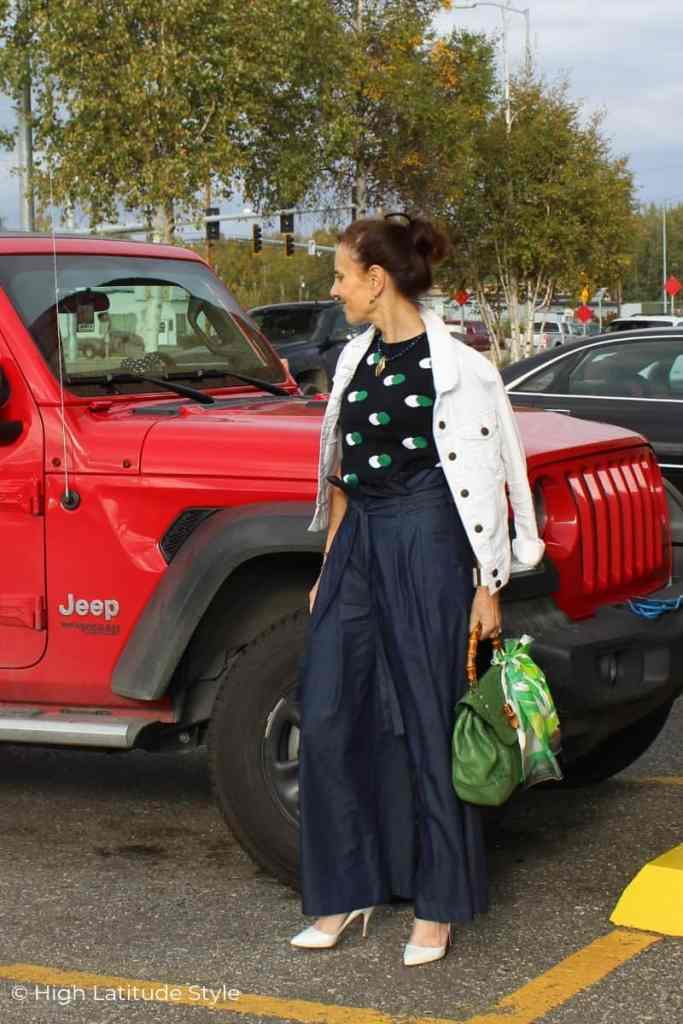 Alaskan fashion blogger with wide pants, knit sweater, denim jacket September look