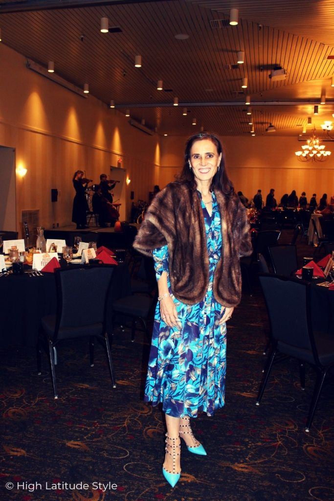 blogger Nicole in the Gold Room in formal attire at the Fairbanks Festival event