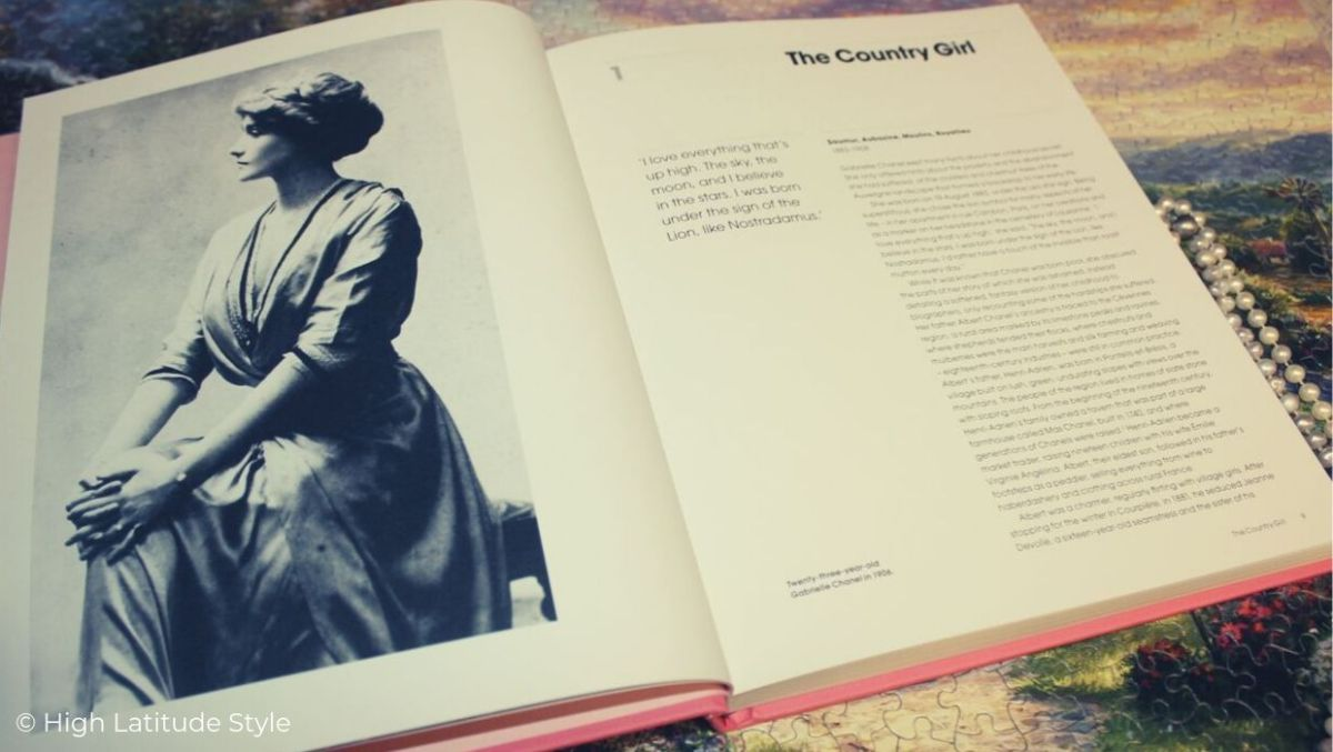 look inside the book about the fashion designer showing her as young woman