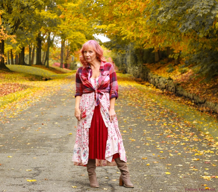 Top of the World OOTD Readers' Fav Debbie of Fashion Fairy Dust in tule skirt, floral dress and plaid shirt