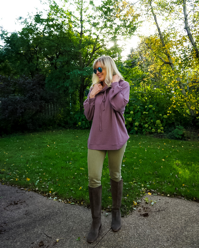 Top of the World Style Winner Jill of Doused in Pink in waffle top, skinnies and tall boots